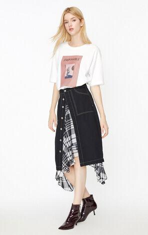 ONLY2019秋季新款印花網紗寬鬆純棉T恤