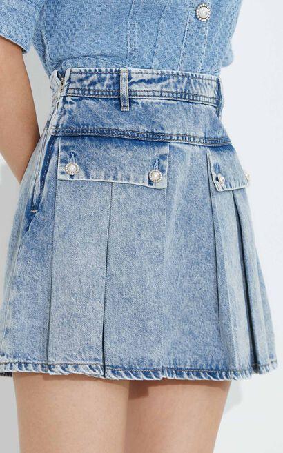 潮流時尚高腰牛仔A字短裙, 藍, large