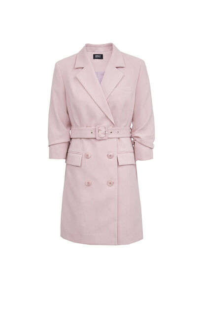 簡約西裝式七分袖洋裝, 紫色, large