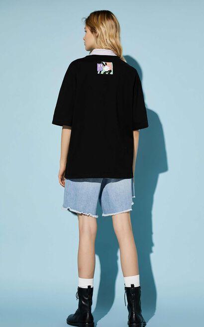 迪士尼米奇寬鬆短袖T恤, 黑, large
