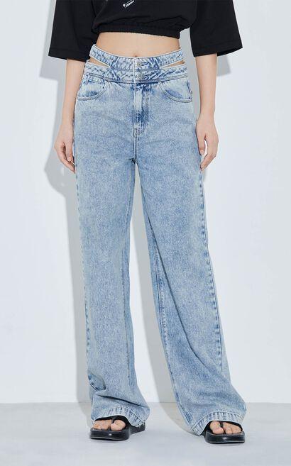 鏤空碎鑽設計 雙排紐扣設計 提臀約克線, 藍, large