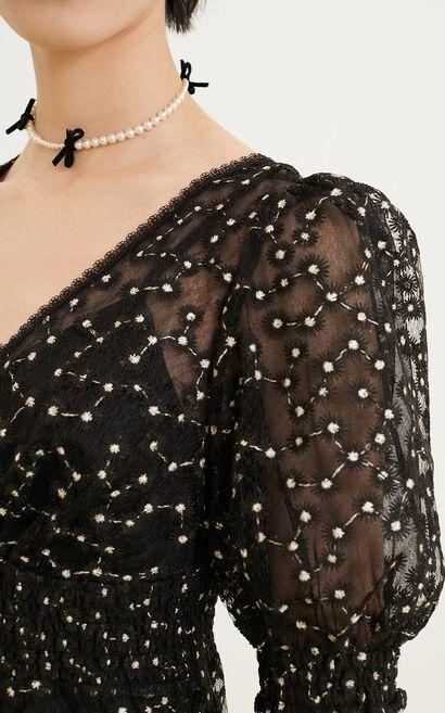 小雛菊收腰兩件式背心洋裝, 黑, large