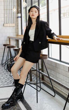 【秋冬新款】口袋設計直筒西裝短褲