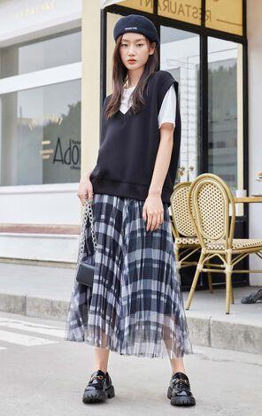 【2件8折】復古格紋網紗百搭長裙