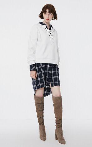 冬季新款鏤空繫帶設計套頭衛衣女|11839S615