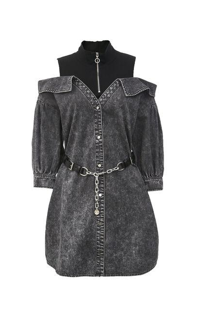 針織拼接露肩牛仔洋裝, 灰色, large