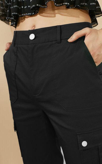 純色顯瘦休閒褲, 黑, large