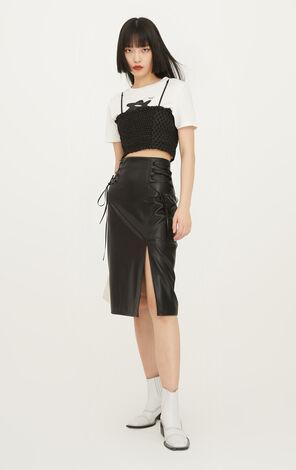 時尚俐落高腰修身綁帶開叉純色中長裙