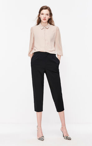 黑色寬鬆七分休閒褲