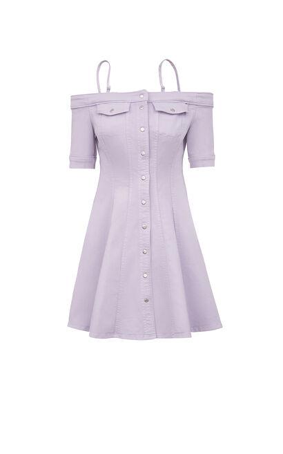 修身吊帶一字領牛仔洋裝, 紫色, large