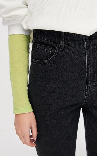 復古微喇叭九分牛仔褲, 黑, large
