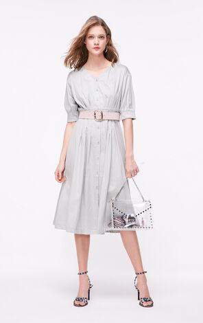 ONLY2019夏季新款復古腰帶式A字洋裝|119107534