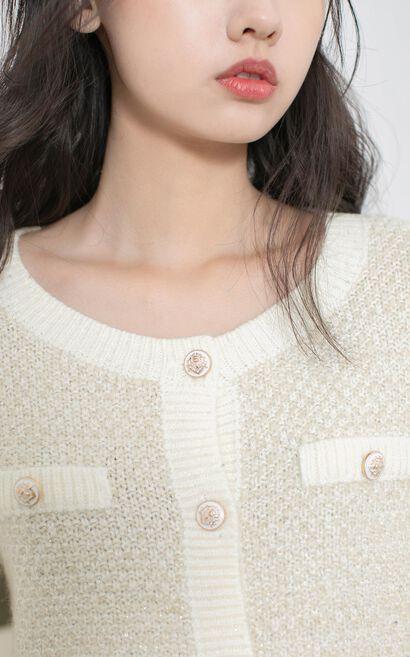 甜美簡約開衫毛針織外套, 淺黃, large