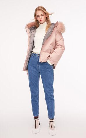 冬季新款貉子毛領簡約寬鬆羽絨服女|118323520