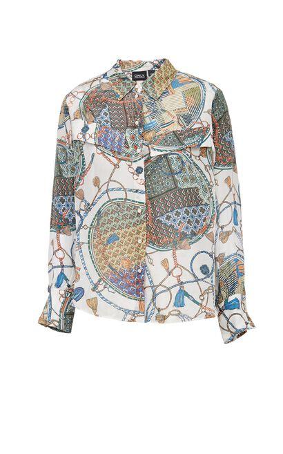 質感民族風印花襯衫, 藍, large