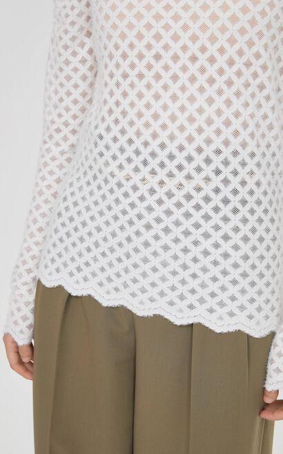 時尚百搭寬鬆高領泡泡袖T恤, 白, large