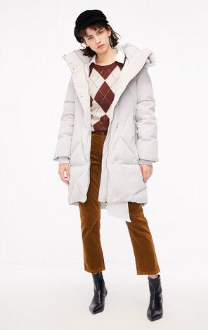 冬季新款簡約肌理連帽長款羽絨服女|118412508