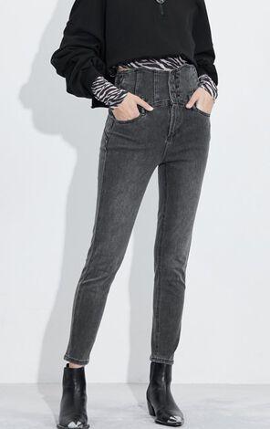 時尚高腰顯瘦彈力牛仔褲
