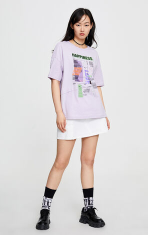 潮印花純棉中長款T恤
