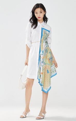印花拼接長版襯衫裙