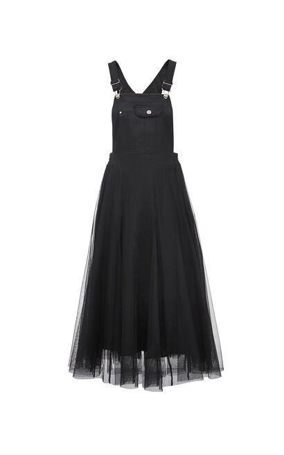 A LINE吊帶網紗裙, 黑, large