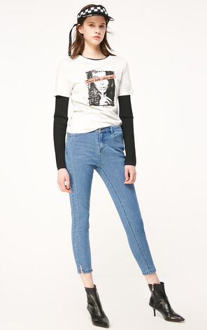 ONLY2019春季新款合身顯瘦側開叉彈力牛仔褲|119149546