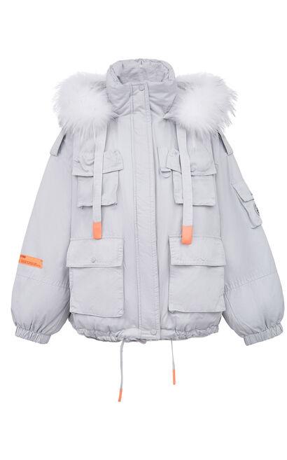 暖冬氣質毛領羽絨外套, 藍, large