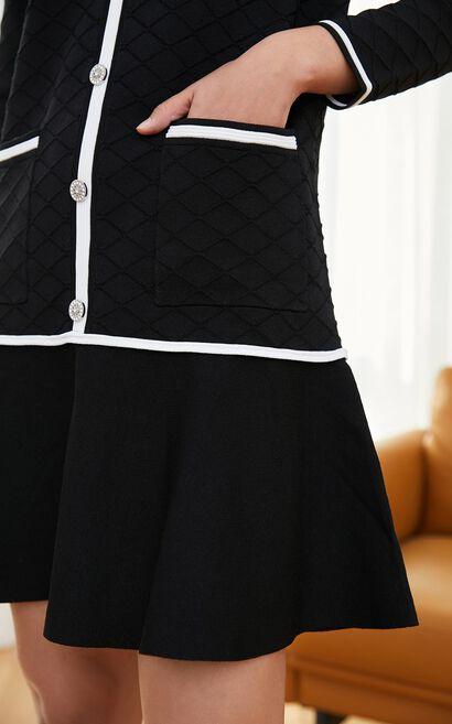 【2件8折】粗毛呢翻領針織洋裝, 黑, large