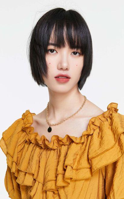 法式荷葉邊綁帶洋裝, 黃, large