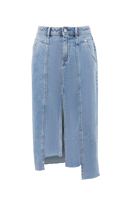 率性俐落修身牛仔A字裙, 藍, large