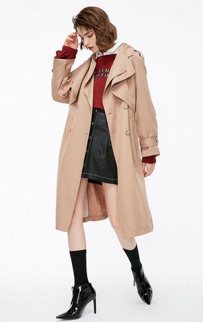 秋季新款簡約長款風衣外套女|118336579