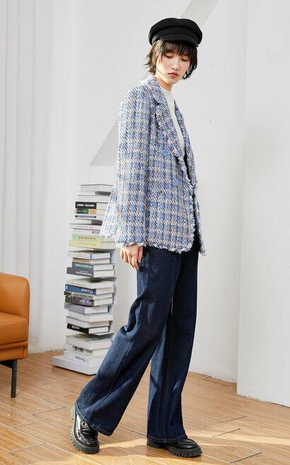 格紋設計感毛邊西裝外套, 藍, large