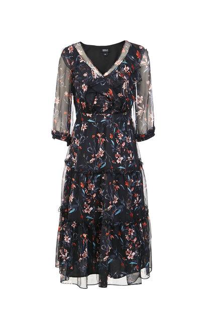 ONLY2019秋季新款荷葉邊雪紡洋裝, 黑, large