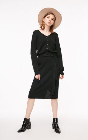 秋季新款V領包臀針織連衣裙女|118346522