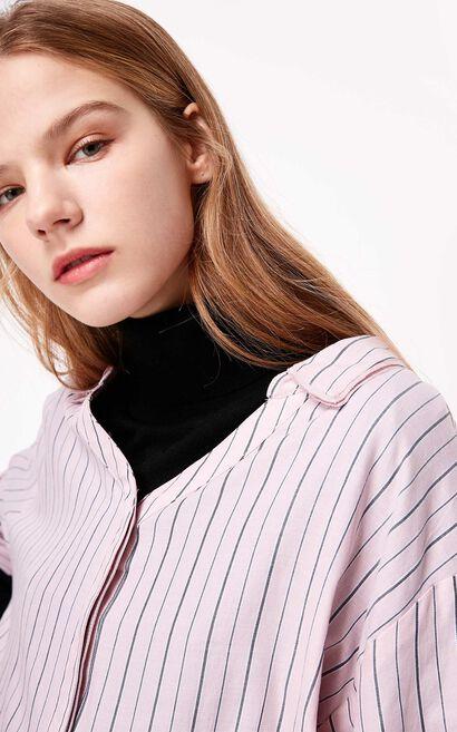 慵懶設計感寬鬆長袖襯衫, 桃紅色, large