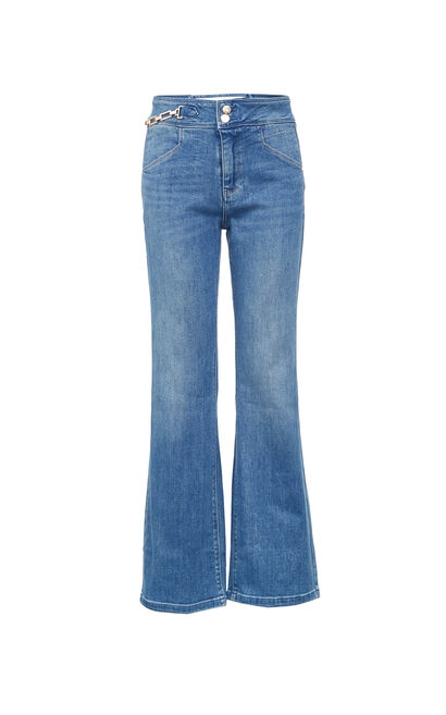 【魔力線雕褲】復古高腰喇叭丹寧褲, 藍, large
