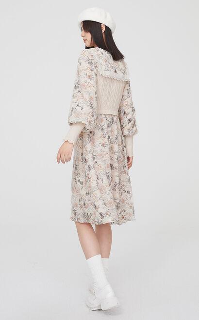 優雅迷人針織拼接洋裝, 奶油色, large