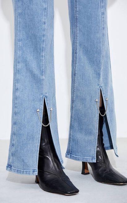 迷人開叉鑽飾高腰微喇牛仔褲, 水藍色, large