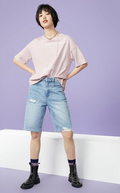 ONLY 純棉純色T恤, 藍, large