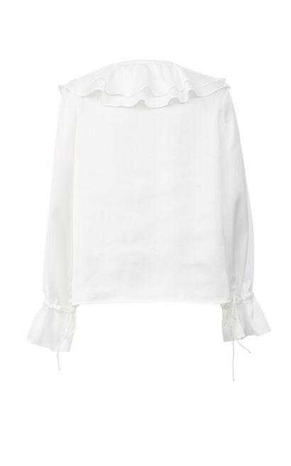 大波浪領袖口抽繩雪紡上衣, 白, large