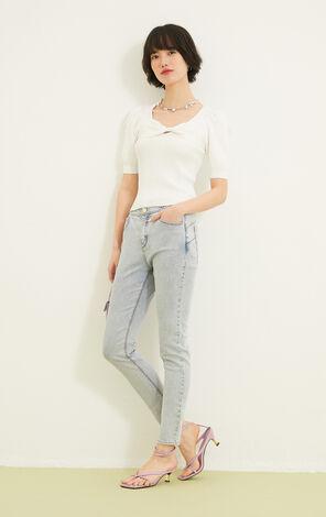 蝴蝶結裝飾純色短袖針織衫