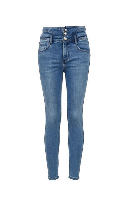 高腰顯瘦後鏤空九分丹寧褲, 藍, large