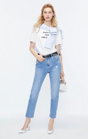 ONLY2019秋季新款高腰寬鬆修身不收邊九分牛仔褲
