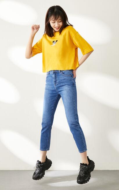 顯瘦直筒九分牛仔褲, 水藍色, large