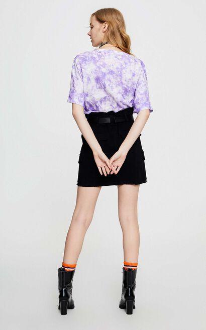 潮流紮染輕鬆純棉T恤, 紫色, large