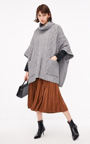冬季新款扭花高領口袋毛衣針織衫女|118313567