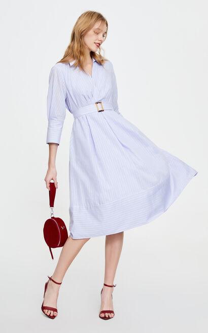 條紋輕熟氣質襯衫洋裝, 藍, large