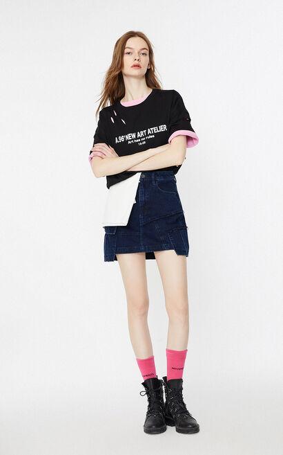 時尚字母印花短袖T恤, 黑, large