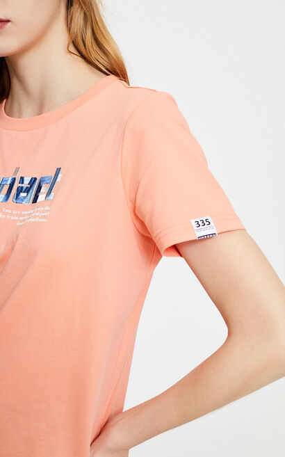 純棉寬鬆直筒字母短袖上衣, 粉色, large