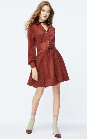 ONLY2019秋季新款復古絨面收腰洋裝|119307572